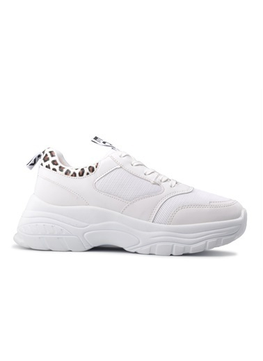 Bambi Bambi 1250 Beyaz-Leopar Kadın Spor Ayakkabı Beyaz